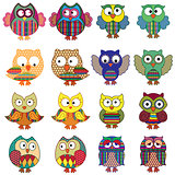 Sixteen cartoon ornate funny owls