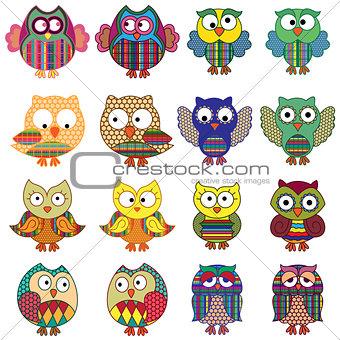 Sixteen cartoon ornate funny owls