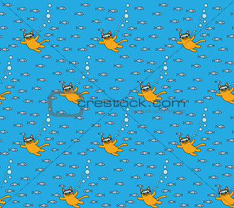 Little cat seamless pattern