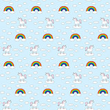 Seamless unicorns and rainbows pattern