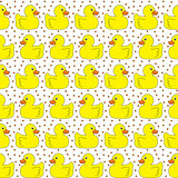 Seamless yellow ducks pattern
