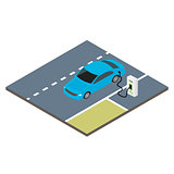 Isometric icon electric car.
