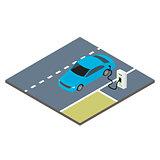 Isometric icon electric car.