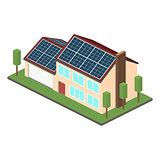 Icon isometric house with solar panels.