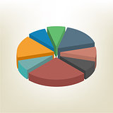 Pie chart isometric vector illustration.