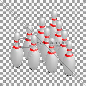 Skittles for bowling isometric, vector illustration.