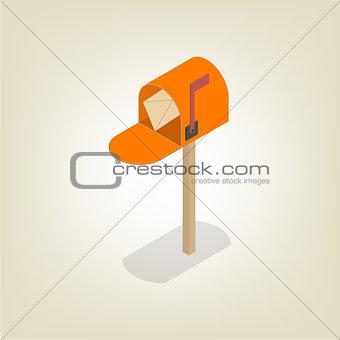 American mailbox isometric, vector illustration.