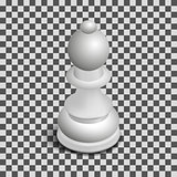 White chess piece bishop isometric, vector illustration.