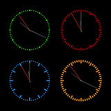 Round dials with arrows, vector illustration.