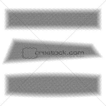 Grey web banners with halftone effect, vector illustration.
