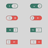 A set of buttons and switches, vector illustration.