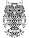 Big amusing cartoon ornate owl outline