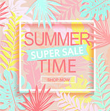 Summer time super sale banner.