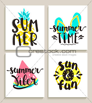 Bright summer cards on white background.
