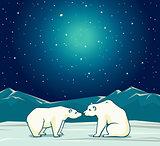 Two polar bear and night starry sky.