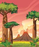 Prehistoric landscape - smoky volcanoes and baobabs.