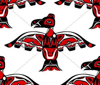 totem bird indigenous art stylization