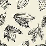 cocoa beans and leaves.
