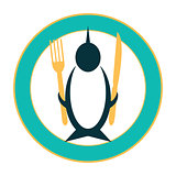 Funny icon of a penguin on a plate