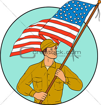 American Soldier Waving USA Flag Circle Drawing