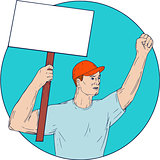 Union Worker Activist Placard Protesting Fist Up Circle Drawing