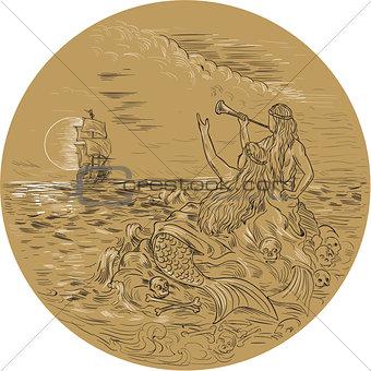 Siren On Island Waving Calling Tall Ship Circle Drawing