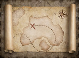 pirates treasure map scroll