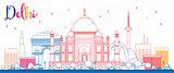 Outline Delhi Skyline with Color Buildings.