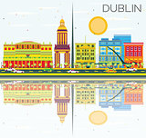 Dublin Skyline with Color Buildings, Blue Sky and Reflections.