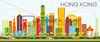 Abstract Hong Kong Skyline with Color Buildings and Blue Sky.