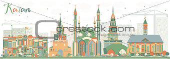 Abstract Kazan Skyline with Color Buildings.