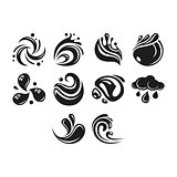 Flat black water icon set