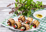 Vegetarian Eggplant Rolls with feta cheese, tomatoes, basil and