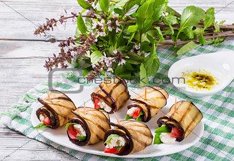 Vegetarian Eggplant Rolls with feta cheese, tomatoes, basil and