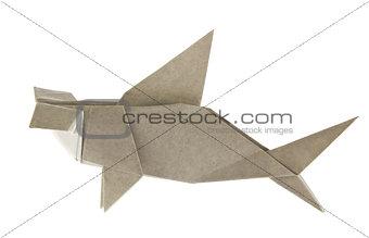 Grey hammerhead shark of origami.