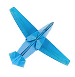 Blue airplane of origami.