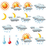 weather icons  sun, rain, snow, storm, clouds