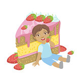 Cute little boy sitting near a big strawberry cake, a colorful character