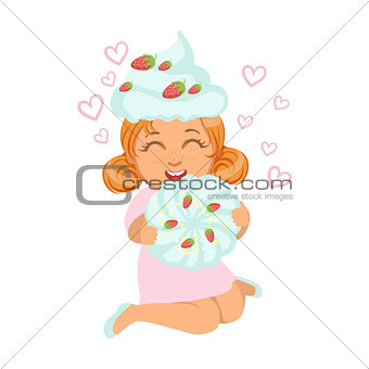 Small girl sitting and laughing in a marshmallow cap, holding a souffle in her hands, a colorful character