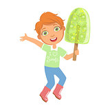 Smiling boy holding a big green fruit ice cream, a colorful character