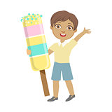 Happy little boy holding a huge ice cream, a colorful character