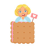Smiling little girl with a huge biscuit, a colorful character