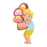Little boy carrying big heavy candies, a colorful character