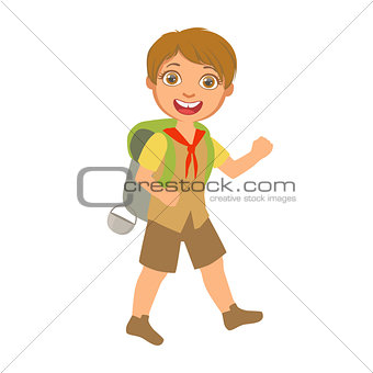 Smiling boy scout carrying a tourist backpack, a colorful character