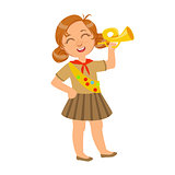 Little scout girl dressed in uniform and holding trumpet, a colorful character