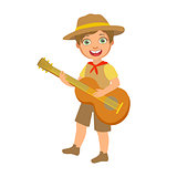 Happy boy scout with guitar, a colorful character
