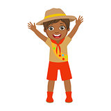 Happy scout boy raising her arms up, a colorful character