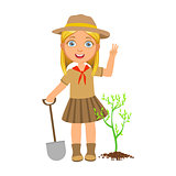 Cute scout girl with a shovel planting green tree, a colorful character