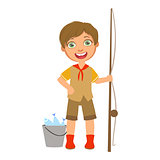 Happy boy scout with a fishing rod and bucket, a colorful character