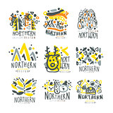 Nothern set for label design. Winter vacations, sports, active lifestyle, hunting colorful vector Illustrations